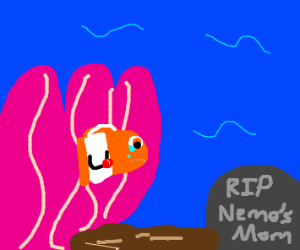 Nemos mum dies and Nemos dad is sad