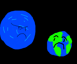Giant blue planet threatening earth