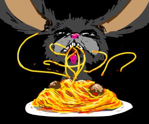 Creepy Bunny enjoys Spaghetti