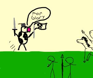 cow runs into battle wearing pan hat