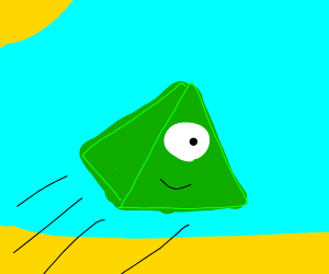 Big happy pyramid flies through the desert