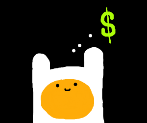 Adventure Time Finn is thinking of money