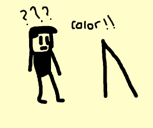 colourless man looking into a colour mirror