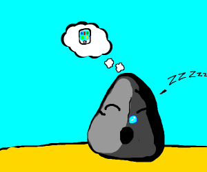 a rock dreams about iphone