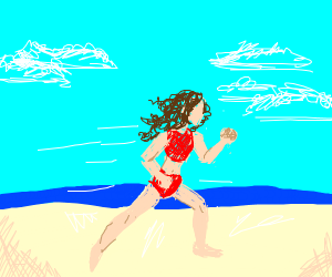 a character running on the beach