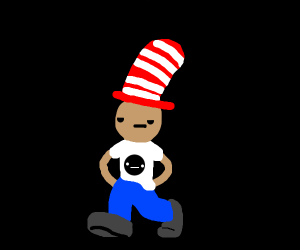 Cat in the hat but human