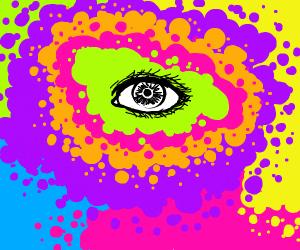 Black&W Eyeball stabbing a colorful mess