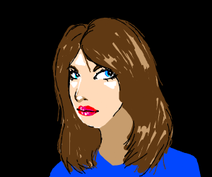 Woman with blus shirt and brown hair