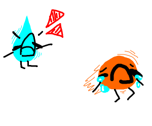 Orange person run away from water person