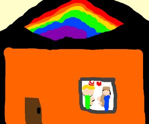 Door of white gay people