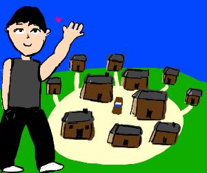 Giant likes a village.