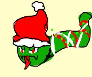 Angry christmas snake