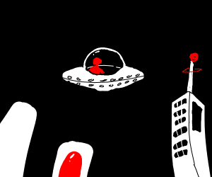Red man in a UFO with UFO towers around him