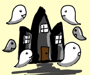 House with spooky ghost