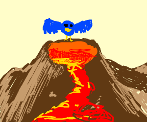 A bird jumping into a volcano