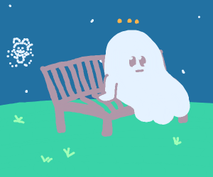 ghost sitting in a bench at night