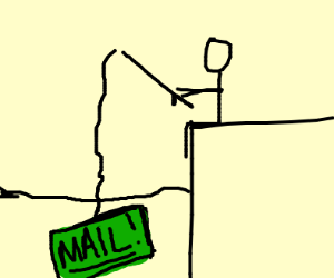 """guy fishes for a green box that reads """"mail"""""""