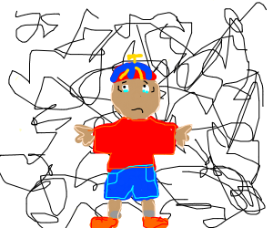 Child lost in scribble world