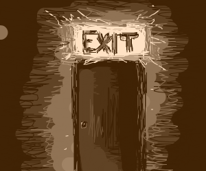 Ominous exit sign above door