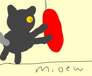 Cat pounces on blindfolded gran
