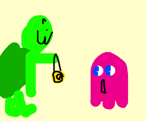 Turtle demon hypnotizes Pac-Man ghost