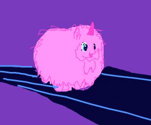 Pink fluffy unicorn on a rainbow