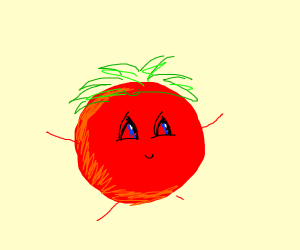 cute tomato with stick limbs