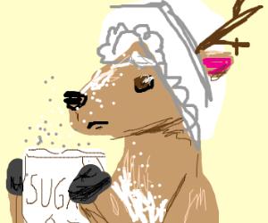 Sad deer with bonnet holds sugar