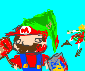 Mario with Link's hat