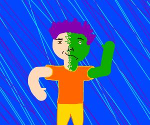 Half man half green man purple hair