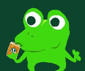 Frog sips Starbucks