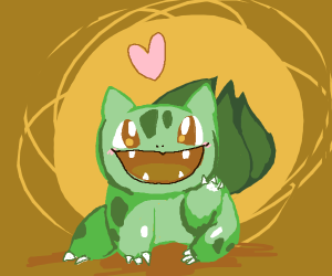Bulbasaur with a cherry blossom on their back - Drawception