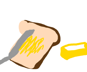 Butter being spread on toast