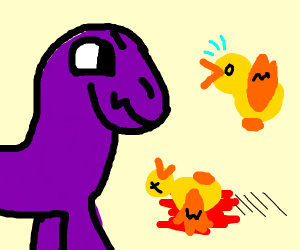 A purple and blue dragon kills birds