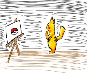 Pikachu drawing a pokeball