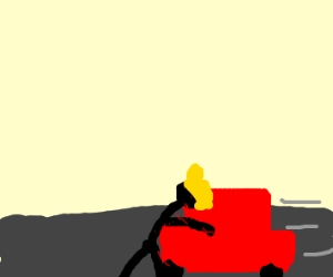 blonde person goes across road
