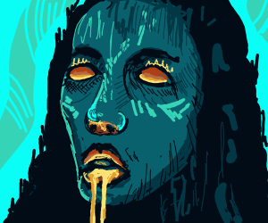 eyeless woman is leaking gold from her mouth