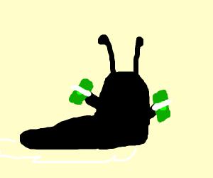 black slug with stacks of money