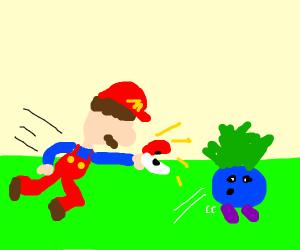 Mario catching Pokémon
