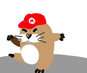 Monty mole with mario's hat