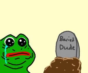 Pepe discovers a buried man