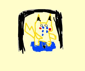 pikachu sad in a dark tunnel