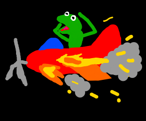 frog in plane going down in flames