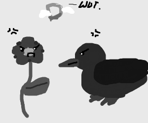 Flower and duck are angry at each other