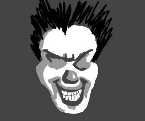 Clownface in black and white with almond eyes