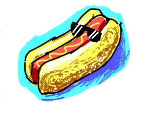 a hot dog wearing sunglasses