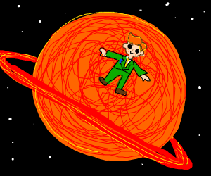 ginger in a green uniform laying on saturn