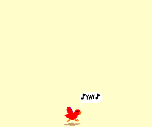 Small red bird shouts for joy