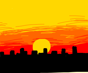 sunset over city