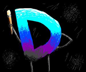 drawception D with paintbrush